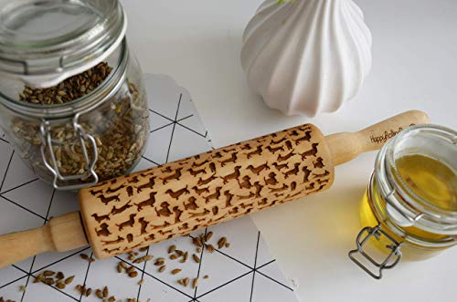 Dachshund Dog Pattern Wooden Engraved Rolling Pin for baking classic- By Enjoy The Wood - Rolling Pin engraved Sugar Cookies Gift for Her Small decorative by Enjoy The Wood
