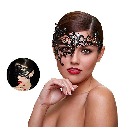 (Masquerade Mask Women Shiny Rhinestone Venetian Party Prom Ball Metal Mask (Half)
