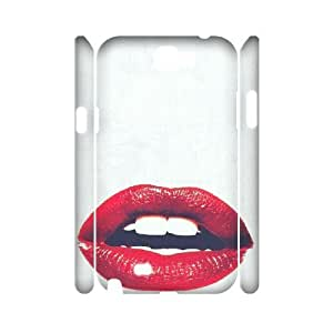 3D Red Pattern & Red Texture Series, Samsung Galaxy Note 2 Case, Red Lips with White Case for Samsung Galaxy Note 2 [White]