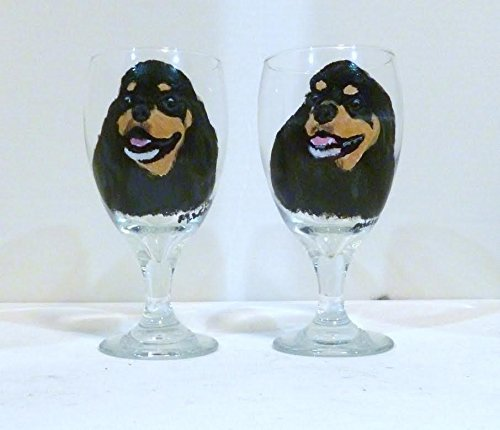 Dog Lover Boutique - Black & Tan Cocker Spaniel Dog Drinking Glass Hand Painted by Pet Lovers Boutique set of 2