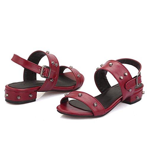 TAOFFEN Women Casual Block Low Heels Sandals Pink RM9CtHR