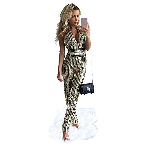 (AIDEAR Women's Gold Sequin Deep-V Strapless Backless Playsuit Sequined Jumpsuits)