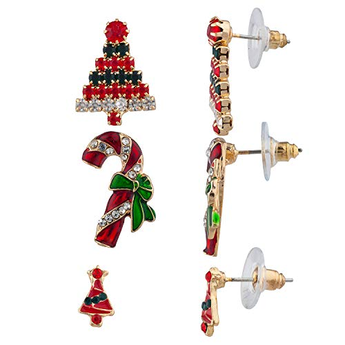 Crystal Cane (Lux Accessories Christmas Tree Red Green Crystal Rhinestones Candy Cane Earrings)