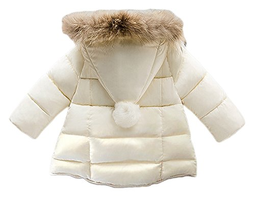 Lanbaosi Baby Girls Cute Fur Hoodie Puffer Jacket Warm Snow Coat Outerwear, White, 5 by LANBAOSI (Image #2)