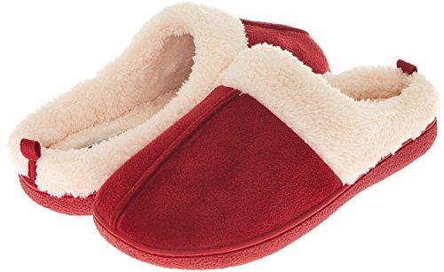 Floopi Womens Indoor Outdoor Fur Lined Clog Slipper W/Memory Foam (XL, Red-301)