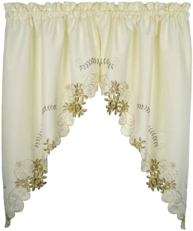 Today s Curtain Verona Reverse Embroidery Window Swag, 38-Inch, Ecru Antique