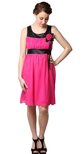 Kleid Schulter mit Fuchsia bon01 Zeremonie Brautjungfer Cocktail Kleid Hochzeit Abend kurz IfnwH