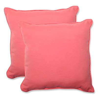 Pillow Perfect Outdoor Fresco Melon Throw Pillow, 18.5-Inch, Set of 2 - Includes two (2) outdoor pillows, resists weather and fading in sunlight; Suitable for indoor and outdoor use Plush Fill - 100-percent polyester fiber filling Edges of outdoor pillows are trimmed with matching fabric and cord to sit perfectly on your outdoor patio furniture - patio, outdoor-throw-pillows, outdoor-decor - 41M4zwxjWYL. SS400  -