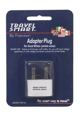Franzus Adapter Plug Travel Lite Two Thick Pins White by Conair