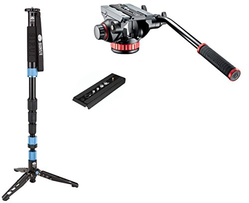 Sirui SUP204SR Photo / Video Monopod w/ Manfrotto MVH502AH Pro Tripod Head with Flat Base, Fluid Pan, Drag System and Ivation QR Plate by Sirui