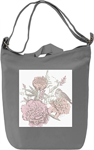 Flowers and Bird Print Borsa Giornaliera Canvas Canvas Day Bag| 100% Premium Cotton Canvas| DTG Printing|