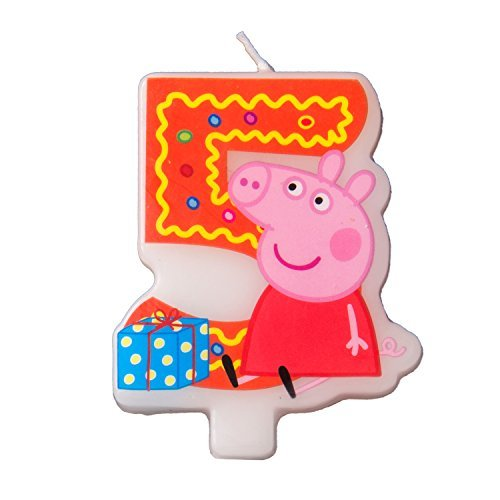 (Cake Cupcake Topper Candle 5 Years Peppa Pig Baking Dessert Decorations Happy Birthday Holiday Anniversary Jubilee Party Supply Must Have Accessories for Kids Baby Shower Celebration)