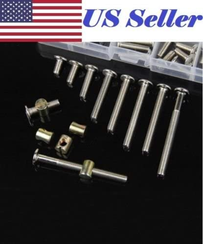 ~3.9 inch M6 Steel Furniture Bolts Barrel Nuts Dowel Connector Fastener 100 mm 5-Pack