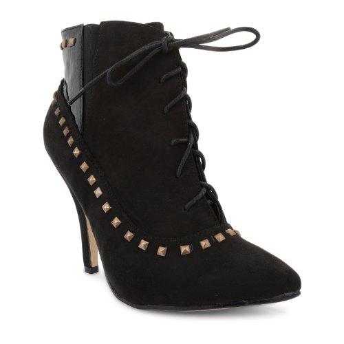 New Ladies Dolcis Studded Lace Up Stiletto tacón alto Vintage Botines UK 3–8 Negro - negro