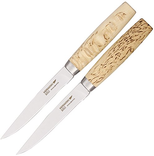 Frosts by Mora of Sweden Handmade Steak Knife with 4.8-Inch Stainless Steel Blade and Masur Birch Handle (Gift Set of 2) by Frosts by Mora of Sweden