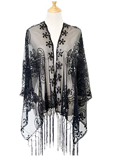 L'vow Women's Glittering 1920s Scarf Mesh Sequin Wedding Cape Fringed Evening Shawl Wrap(Black)