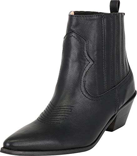 Cambridge Select Women's Western Pointed Toe Stitched Low Heel Ankle Cowboy Boot,8 B(M) US,Black PU