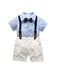 LittleSpring Boys Gentleman Bowtie Outfits Short Sleeve Shirt and Bib Pants Sets 1-6T