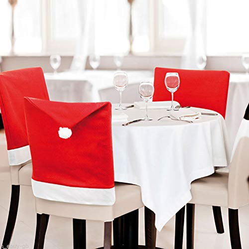 LA BIO Christmas Chair Cover for Dining Room,6 Pcs Santa Claus Clause Hats Christmas Decorations Removable Red Chair Cap Back Cover Sets for Christmas Festival Dec (Red, 6 Pcs)