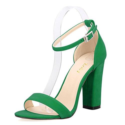 baa8e847ec4 ZriEy Women s Chunky Block Strappy High Heel Pump Sandals Fashion Ankle  Strap Open Toe Shoes - Buy Online in Oman.