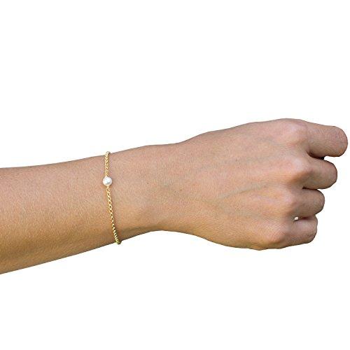 - Single Pearl Bracelets For Women,14K Gold Plated Handmade Dainty Chain Freshwater Pearl Cute Charm Link Friendship Bracelet Jewelry