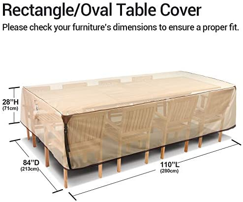 41M5 tKDPDL. AC Ohuhu Heavy Duty Patio Furniture Covers, 110'' x 84'' x 28'' 600D Durable Canvas 100% Waterproof, Outdoor Dining Table Chair Set Covers, Sofa, Bench and Loveseat Dust Cover    Product Description