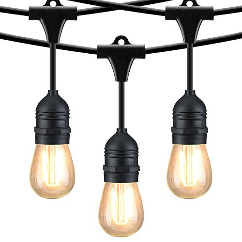 Mpow 49ft LED Outdoor String Lights, Waterproof Commercial Grade 1.5W Dimmable Light, with 15 Vintage Bulbs and 1 Spare Blub, Heavy Duty Connectable Edison String Light for Patio Bistro Porch Garden by Mpow