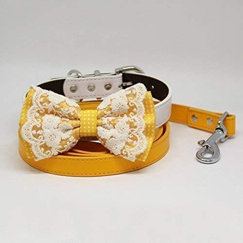 Yellow Polka Dots Bow tie, Dog collar, Citrus Leash, Handmade, Pets wedding, Lace
