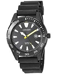 Citizen BI1045-13E - Reloj de pulsera para hombre, acero inoxidable, correa de poliuretano de cuarzo japonés, color negro, 22 relojes informales