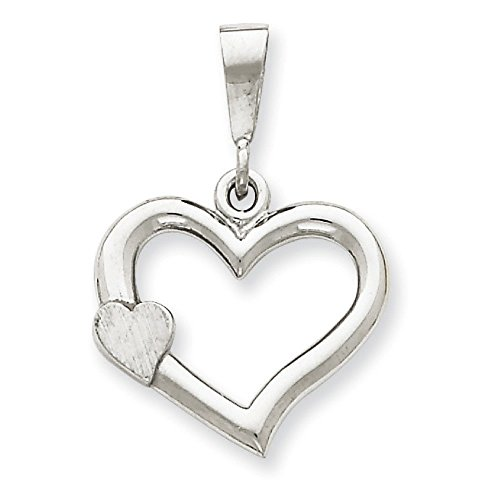 Or blanc 14 carats massif satiné poli Pendentif Coeur - Fancy dimensions 19,2 x 27.9 mm