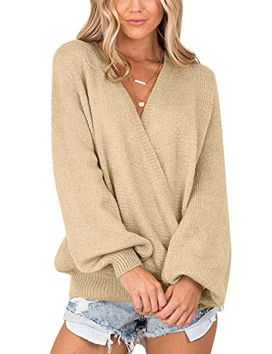 - ACKKIA Women Knitted Long Sleeve Solid Apricot Sweater Faux Wrap Surplice V Neck Loose Pullover Jumper Tops Size S 4 6