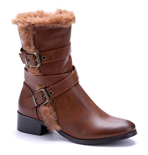 cm Damen Winterstiefeletten Schnalle Schuhe Blockabsatz Boots Schuhtempel24 Stiefel 4 Camel a8FZwqF
