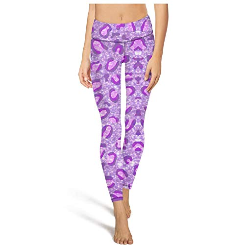 Leopard Purple Womens Printed Elastic Yoga Pants Gym Tights