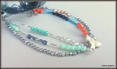 Girl Multicolored Boho Whale Tail Anklet, Ankle Bracelet for Women Colors of Choice (Multi Anklet Colored Silver)