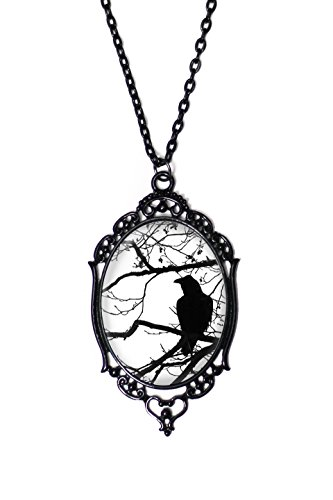 Black & White Raven and Tree Cameo Necklace with Black Antique Frame on 18