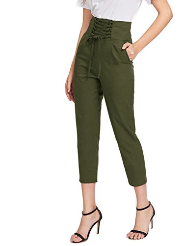MakeMeChic Women's Lace up High Waist Pocket Trousers Casual Pants Army Green S (Pocket Trouser)