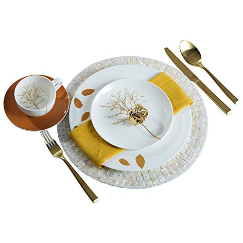 - Simple Bone China Dinner Set, Hand-painted Leaf Print Plate, Luxurious Gold Cutlery, Ceramic Tabletop Decoration B
