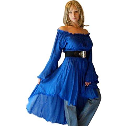 Blusa Campesino Encaje encantador elegante Classic Lagenlook [S565] Azul
