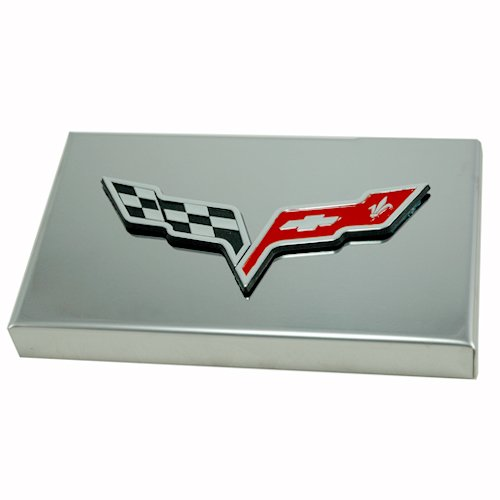 2005-2013 Corvette Polished Stainless Fuse Box Cover - Crossed Flags Emblem