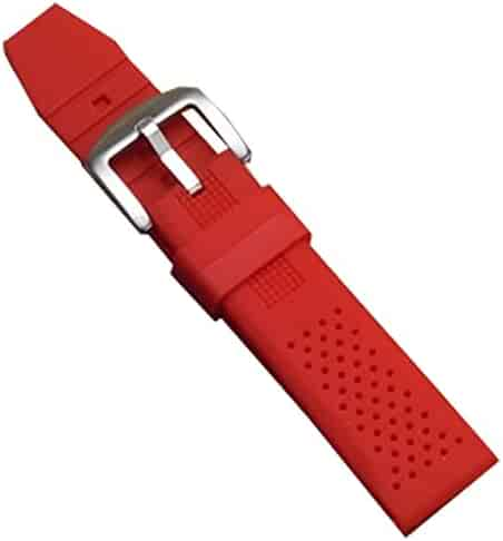 371ef55f96e New Red Silicone Rubber Diver Watch Band Waterproof Sport Buckle 22mm