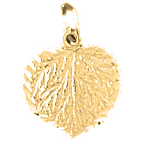 Jewels Obsession Aspen Leaf Charm Pendant | 14K Yellow Gold Aspen Leaf Pendant - 15 mm