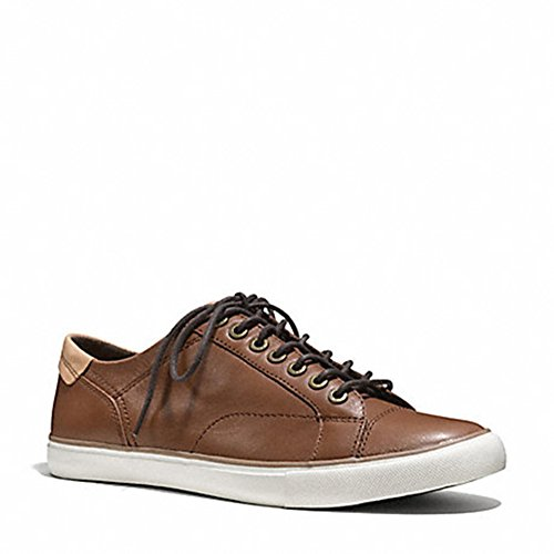 Coach New York Men's Q4097 Genuine Leather Casual Sneakers Saddle Brown 8.5 D US