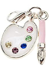 Breathtaking Design Fancy White Colored Paint Palette Studded With Colorful Rhinestones Crystals And Attached Pink Brush Clip On Pendant Charm For Bracelets Bangles By VAGA©