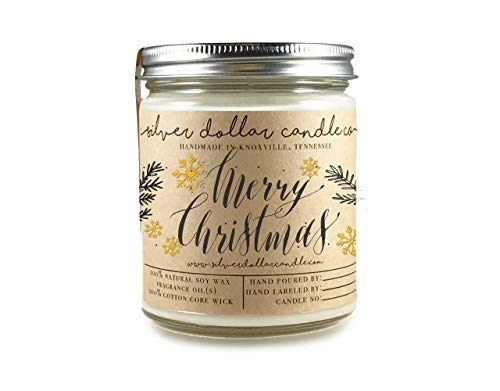 - Merry Christmas Personalized customized Scented 8oz Soy Candle - Gift ideas