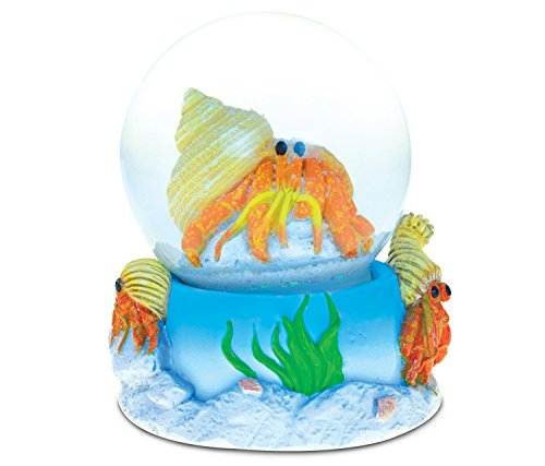 Snow Crab (Puzzled Hermit Crab (65MM) Resin Stone Finish Snow Globe - Ocean Life Theme - Unique Elegant Gift and Souvenir - Item #9484)