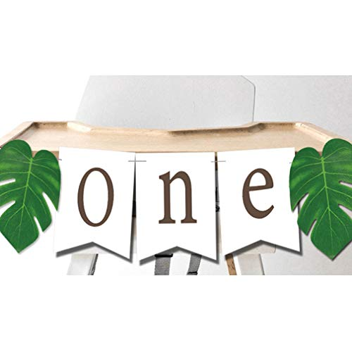 ONE Banner with Tropical Palm Leaves High Chair Decoration for Jungle Safari Lion King Dinosaur Wild ONE - Banner Lions