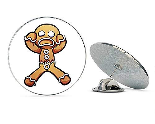 BRK Studio Cute Silly Holiday Gingerbread Man Cartoon Emoji Round Metal 0.75