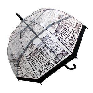 New York Stadtbild Thema-Klar Dome siehe durch transparent Birdcage Regenschirm mit schwarzem Griff