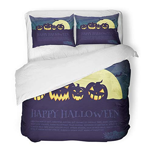 Emvency 3 Piece Duvet Cover Set Brushed Microfiber Fabric Breathable Orange Helloween Halloween Party Yellow Costume Bat Black Cap Celebration Dark Bedding Set with 2 Pillow Covers King Size ()