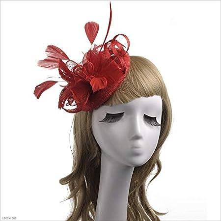 357c7642bd4 YLiansong Ladies Girls Womens Elegant Fascinators Headwear Flower Feather  Headband Hat Cocktail Tea Party Hat Wedding